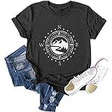 Women Compass Graphic Printed Tshirt Athletic Camping Shirt Short Sleeve Hiking Tee Tops