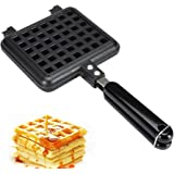 Stove Top Waffle Iron - Die-Cast Dual Waffle Maker with Non-Stick Coating, Bakelite Handle & Closing Latch