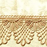WhiteLeaf ピアノカバー アップライト ジャガード織 ケミカルレース 高品質 全10色 (ゴールド)