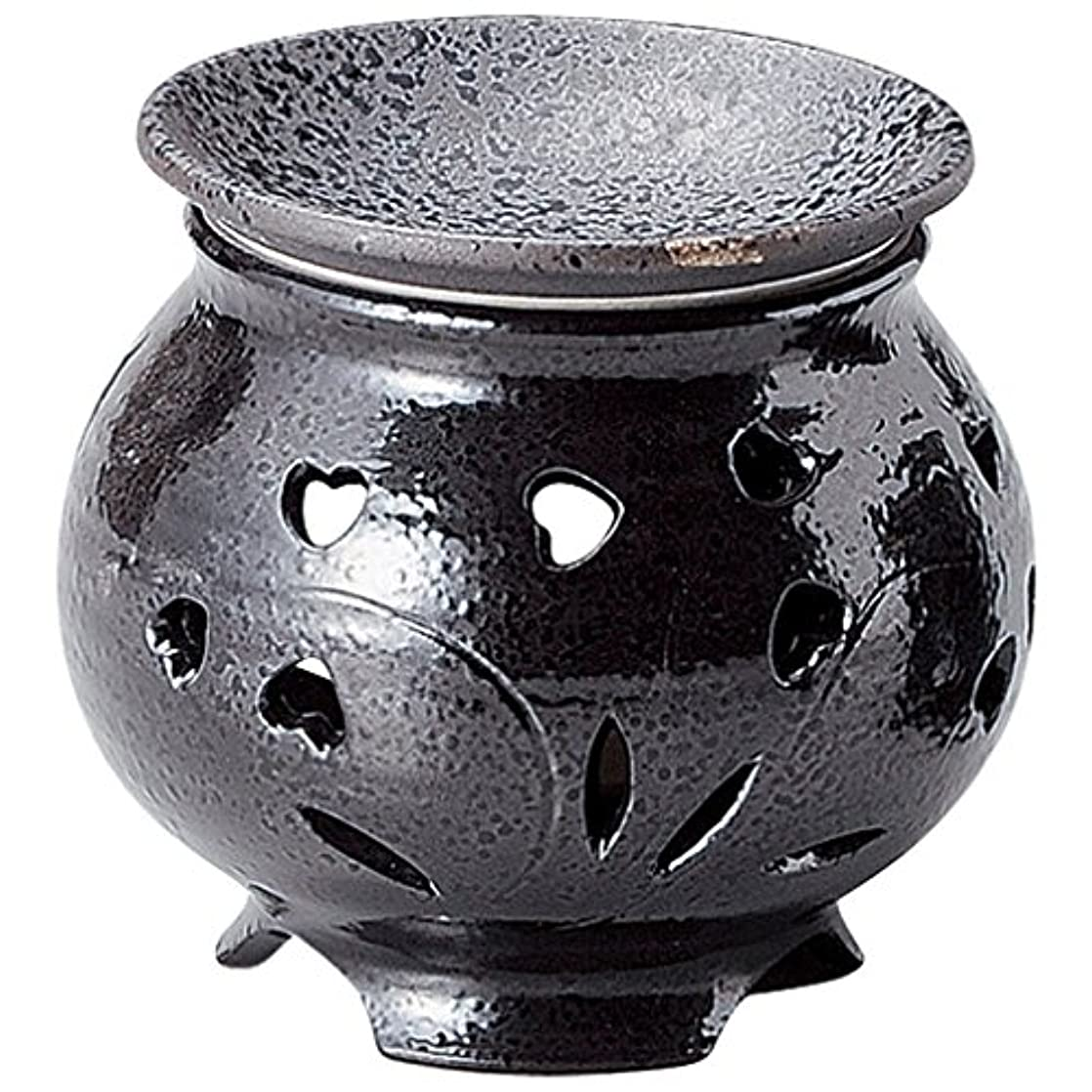 サバント許可する手当山下工芸 常滑焼 富仙黒釉ハート茶香炉 11×10.2×10.2cm 13045600