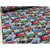 ワーキングカー クレヨンタッチ ネイビー紺 CBプリント2018  |自動車|くるま|クルマ|消防車|救急車|パトカー|すてき生地|布|すてき|素敵|
