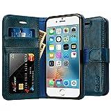 Labato iPhone6S / iPhone6 ケース 手帳型 本革レザー TPU スタンド カードポケット 写真窓 手作り ハンドメイド 耐摩擦 耐汚れ(ブルー lbt-I6S-07Z46)