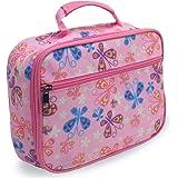 Keeli Kids Girls Butterfly Insulated Lunch Box for Toddlers Preschool Kindergarten with Butterfly Sandwich Cutter in Pink But