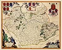 古いGreat Britainマップ–Leicestershire郡、イギリス–Blaeu 1646–23x 28.58 ITLE0002-2