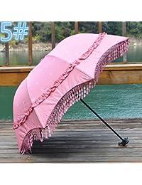 ピンクプリンセスサンシェード傘Three FoldタッセルレースFreshブラックUV太陽傘