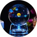 3D Crystal Ball with Solar System model and LED lamp Base Clear 80mm (3.15 inch) Solar System Crystal Ball Best Birthday Gift