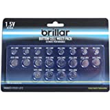 Brillar 20 Pack Assorted Mixed Lithium Button Cell Batteries AG1/4/10/12/13 LR60/66/54/43/44 (BR0054)