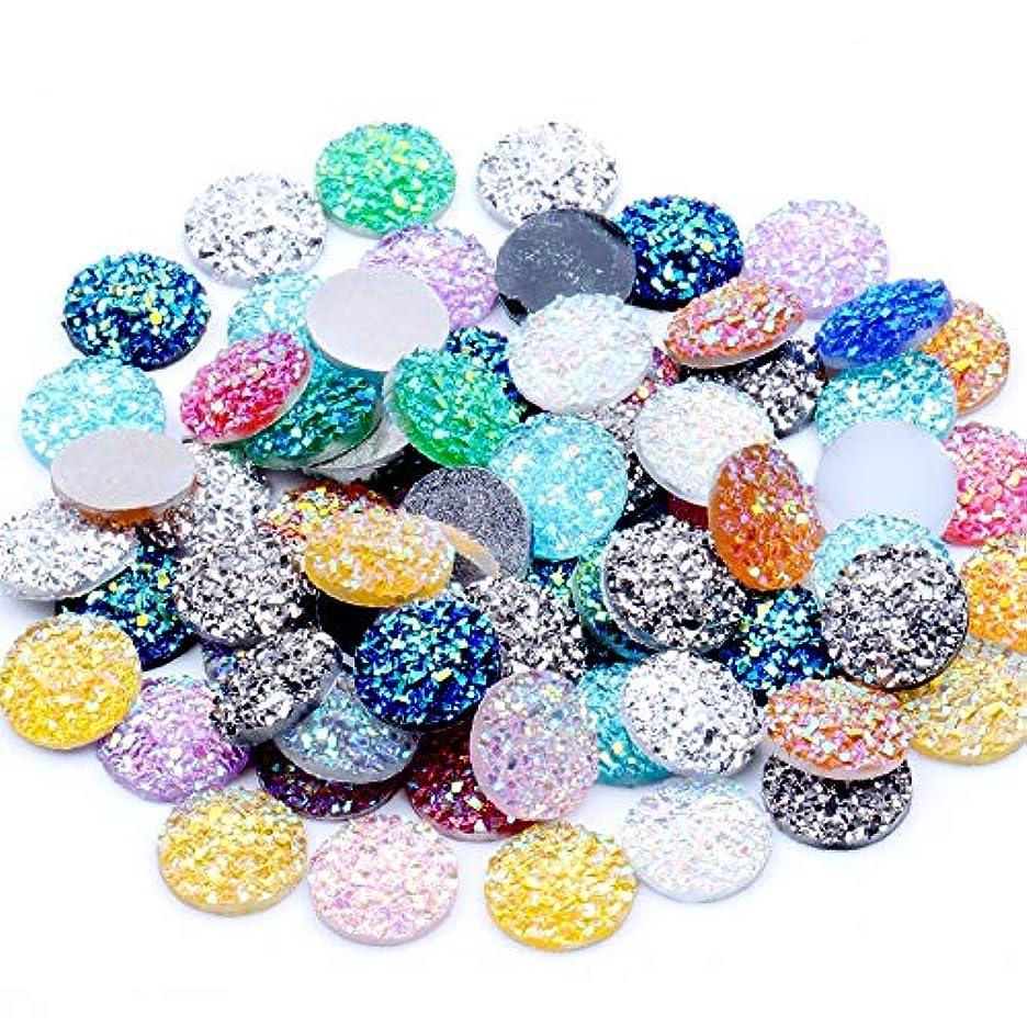 累積誠実発明するNIZI 12ミリメートル多色40ピースフラットバック樹脂ドットラウンドラインストーンキラキラ宝石ビーズアップリケdiyの結婚式の装飾工芸品(00混合ABカラー)