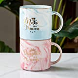 Mother of A Princess Daughter of A Queen Funny Mom And Daughter Coffee Mug Set 12 OZ -Best Christmas Birthday Gift for Mother