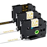 """Greateam Compatible Label Tape Replacement for P-Touch Tape 12mm 0.47"""" Brother 1/2Inch TZe Tape TZe-134 TZe-234 TZe-334 (Gold"""