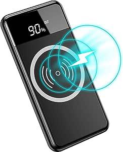 モバイルバッテリー ワイヤレス 充電器 Qi 充電 10000mAh 急速充電器 置くだけ充電 Quick Charge USB付属 PSE認証 LED残量表示 iPhone X /iPhone 8 /iPhone 8 Plus /Galaxy S9 /S9 Plus /Note8 /S8 /S8 Plus / S7 /S7 Edge /Note 5 /S6 Edge Plus /他Qi対応機種 (ブラック)