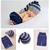 Vedory Newborn Baby Photo Shoot Props Girl Boy Crochet Knit Hat Costume Stripe Hat Pants Overalls Photography Props