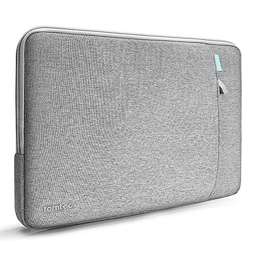 "tomtoc 360°保護 耐衝撃 ラップトップスリーブケース 15インチ MacBook Pro Touch Bar搭載 A1990 A1707   ThinkPad X1 Carbon 第1-4世代 / X1 Yoga   15"" New Surface Laptop 3 2019   14 HP Acer Chromebook対応、 15インチノートパソコン インナーバッグ、 アクセアリーポケット付き、 撥水加工、 グレー"