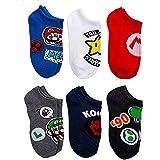 Super Mario Socks for Boys 6-Pack No-Show