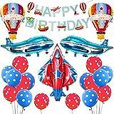 誕生日飾り付け 可愛いヘリコプター 飛行機風船 ロケットバルーン 赤いブルー happy birthday バナー ガーランド 男の子 子供 パーティー飾り 幼稚園 部屋装飾