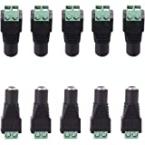 CFSadapter 12V DC Female Power Connector 5.5mm x 2.1mm Power Jack Socket for Led Strip CCTV Security Camera Cable Wire Ends 1