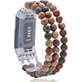 C&L Accessories Compatible with Fitbit Charge 3 Charge 4 Bands, Handmade Feminine Stretch Natural Picasso Jasper Stone Beaded