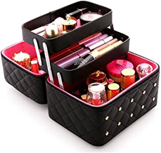FYX メイクボックス コスメボックス 大容量 化粧品収納ボックス 収納ケース 小物入れ 大容量 取っ手付 (ブラック)