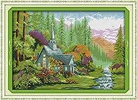 グッドバリューGood Valueクロスステッチキット 子供や初心者向け 山野の家 11CT 79×59cm DIY 手作り刺繍キット 正確な図柄印刷クロスステッチ 家庭刺繍装飾品 フレームがない