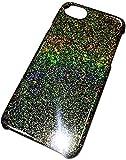 【SHOW UPカスタムカラーシリーズiPhoneケース for 6/6s/7】ステラ☆ホログラムフレーク ゴールドレインボーホログラム/ブラックベース ipc67-03