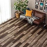 フロアタイル 貼るだけ フローリングタイル [72枚セット/No.6バーンドオーク] 約6畳用分 木目調 接着剤付き DIY 床材 簡単 フロアーマット