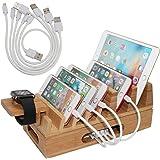 竹製充電ステーションオーガナイザー 複数のデバイス&木製デスクトップドッキング充電スタンド 携帯電話、タブレット、携帯電話ケース、時計スタンドなど - Pezin & Hulin(USB充電器なし)