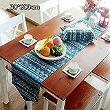 センタークロス 和柄 テーブルランナー テーブルクロス 麻 楽しいお食事 エレガントな柄 ボヘミア風 30*180cm