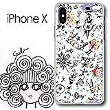 iPhone X スカラー ScoLar アンティークなウサギと花 イチゴ 花柄 ハードケース クリア_110