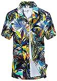 APTRO(アプトロ)メンズ アロハシャツ オシャレ メンズシャツ フローラル ワイシャツ プリントシャツ ハワイ風 半袖シャツ 通気速乾 UV対策 ST19ホワイト JP XL(タグ M)