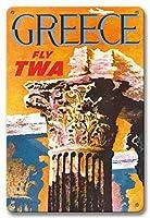 22cm x 30cmヴィンテージハワイアンティンサイン - ギリシャ - TWA (トランス・ワールド航空) で飛ぶ - コリント式スタイルギリシャコラム - ビンテージな航空会社のポスター によって作成された デイヴィッド・クライン c.1959