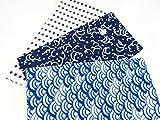 日本手ぬぐい 日本製 手拭3枚(青海波・波ちどり・豆絞り)+和柄ハンドタオル3枚 計6枚セット