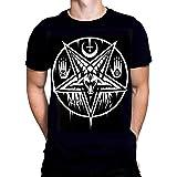 Darkside Pentagram Baphomet Glow in The Dark Occult Horror Halloween Men's Black Cotton Short Sleeve T-Shirt
