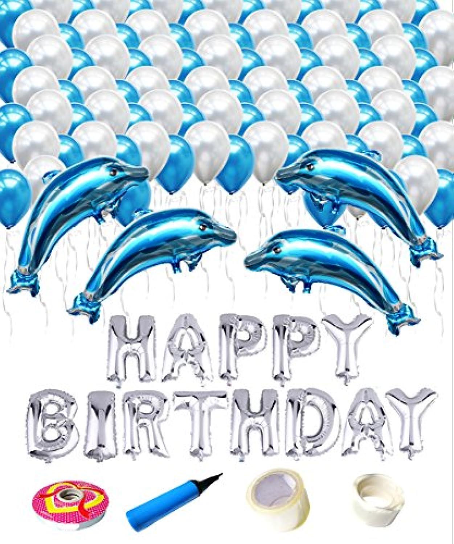 しあわせ倉庫 誕生日 バルーン イルカ4匹 バースデー 風船 2色 空気入れ リボン セット 飾り (ブルーイルカ4匹)