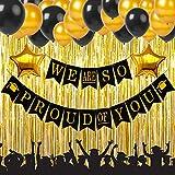 2019 卒業パーティー用品デコレーション We Are So Proud of You バナー ブラックとゴールド 卒業パーティー用品キット ラテックスバルーン 星型ホイルバルーン ゴールドカーテン SG038