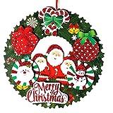 クリスマス リース 吊り下げ式 36cm オーナメント クリスマス 飾り サンタクロース クリスマスツリー リボン ボール キラキラ 可愛い 紙 クリスマスリース インテリア 玄関 ドア 壁掛け 家族用 飾り パーティー クリスマスグッズ お店飾り (直径36cm)