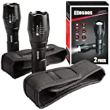 2 LED Flashlights with 2 Holsters,COSOOS Bright Tactical Flashlight 1000 Lumen & Holder for Belt,Pouch Case,Zoomable Portable