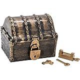 Hellery 海賊の宝箱 アンティーク 宝石箱 ジュエリーボックス レトロな鍵付き 小物入れ インテリア 置物 プレゼント - ブロンズ