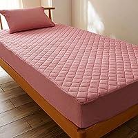 綿混ワッフル素材の速乾?抗菌?防臭ボックスシーツ型敷きパッド ピンク サイズ:セミダブル