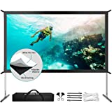 "Projector Screen with Stand, Upgraded 120"" 4K HD Outdoor/Indoor Portable Projector Screen 16:9 Foldable Movie Projection Scre"