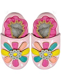 Kimi + Kai Kids Soft Sole Leather Crib Bootie Shoes - Lily Flower