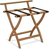 """Wooden Mallet 4 Double Prong Rail/Coat Rack, Nickel Hooks, Light Oak, 18.25"""" D x 23.75"""" W x 24.25"""" H"""