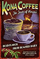 Kona Coffee Vintage Sign – ハワイ 12 x 18 Signed Art Print LANT-36407-708