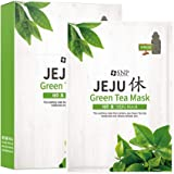 SNP - Jeju Rest Green Tea Korean Face Sheet Mask - Maximum Hydration & Protection for All Dry Skin Types - 10 Sheets - Best G