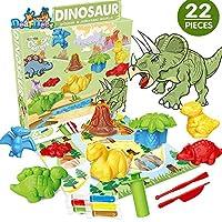 Deardeer 22ピース 恐竜 遊び 粘土セット 創造性 DIY ごっこ遊び おもちゃ キット 生地と型付き 子供 男の子用