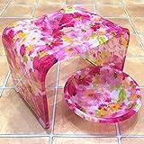 ★艶やかピンクローズ・薔薇のバスグッズ2点洗面器(M)セット ≪Glamorous-Rose≫バスチェア+洗面器(M) 'くっきりと大胆な薔薇'がとってもかわいい♪風呂椅子