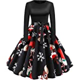 GBD Womens Christmas Dress Long Sleeve 50s Vintage Xmas Reindeer Tree Print Dress A Line Cocktail Swing Holiday Party Dress