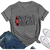 HRIUYI Plus Size Christmas Shirts for Women Short Sleeve Merry and Bright Shirt Funny Christmas Graphic Tee Shirts Tops