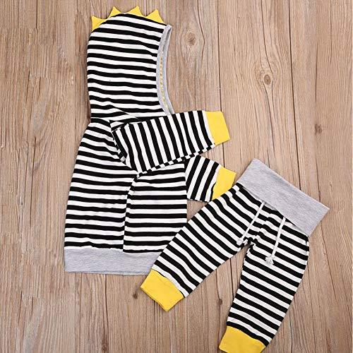 DiDaDo Toddler Newborn Baby Boy Girl Hoodie Set, Cotton Tops and Pants Clothing Set (Stripe Black, 0-6 Months)