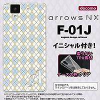 F01J スマホケース arrows NX ケース アローズ エヌエックス イニシャル アーガイル 青×グレー nk-f01j-tp1413ini X