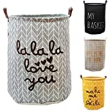 VR HOME Fashion Collapsible Laundry Baskets Fabric Washing Basket Laundry Hamper 63L Capacity (LALALA LOVE YOU)